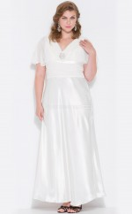 V-neck  Floor-length White Chiffon Plus Size Bridesmaid Dress With Sleeves(NZPSD06-003)