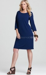 Sheath Knee-length Royal Blue Knitwear Plus Size Bridesmaid Dress With Sleeves(NZPSD06-008)