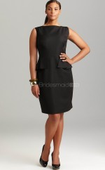 Sheath Knee-length Bateau Neck Black Satin Plus Size Dresses (NZPSD06-016)