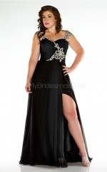 Black Satin Chiffon Long Sweetheart Neckline Plus Size Bridesmaid Dress (NZPSD06-022)