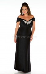 Black Satin Off The Shoulder V-neck Long Plus Size Bridesmaid Dress (NZPSD06-027)