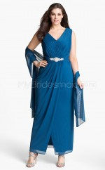 Royal Blue Sheath Chiffon V-neck Ankle-length Plus Size Bridesmaid Dress (NZPSD06-030)