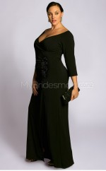 Knitwear Sheath/Column V-neck 3/4 Length Sleeve Long Plus Size Bridesmaid Dress (NZPSD06-036)