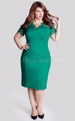Satin,Lace Sheath/Column V-neck Short Sleeve Tea-length Plus Size Bridesmaid Dress (NZPSD06-041)