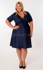 Taffeta A-line V-neck Short Sleeve Knee-length Plus Size Bridesmaid Dress (NZPSD06-046)