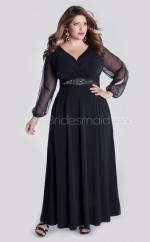 Chiffon A-line V-neck Long Sleeve Ankle-length Plus Size Bridesmaid Dress (NZPSD06-049)