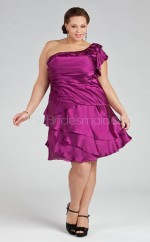 Stretch Satin A-line One Shoulder Sleeveless Knee-length Plus Size Bridesmaid Dress (NZPSD06-053)