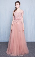teenage Long Bateau Nude Pink Tulle and Lace A Line Ball Gowns with 3/4 Length Sleeves NZTB06038
