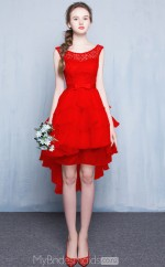 Glamorous Scoop Princess Ruby,Silver,Champange Hi-Lo Organza Ball Gowns with Short Sleeves NZTB06043