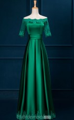 Trendy Satin Green A Line Long Off The Shoulder Ball Gowns with Short Sleeves NZTB06046