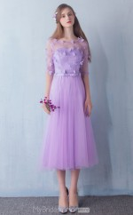 Elegant Ankle Length Scoop Purple Tulle Princess Ball Gowns with Short Sleeves NZTB06062