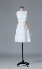 A Line Chiffon , Lace Bateau Neckline Ivory Short Wholesale Clearance Price Bridesmaid Dress BD-NZS417