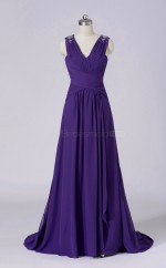 Chiffon A Line Long Regency V Neck Wholesale Clearance Price Bridesmaid Dress BD-NZS458