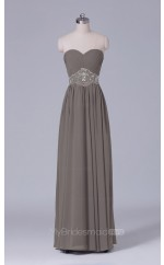 A Line Chiffon Sweetheart Neck Gray Long Wholesale Bridesmaid Dress BD-NZS494