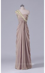 Nude Long One Shoulder Chiffon Sheath Wholesale Clearance Price Bridesmaid Dress BD-NZS496