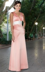 Pink Matte Satin Sheath V-neck Long Bridesmaid Dresses (NZBD06558)
