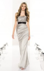 Silver Stretch Satin Mermaid Sweetheart Long Bridesmaid Dresses (NZBD06804)