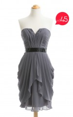 Special Offer Dark Gray A Line Strapless Chiffon Bridesmaid Dresses (BSD-NZ-T099)