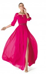 Fuchsia A-line Square Silk Like Chiffon Long Ball Dresses (NZJT06311)