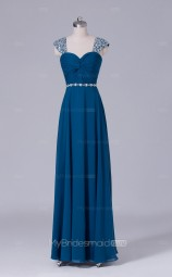 Aegean Spandex A Line Straps Long Wholesale Bridesmaid Dresses with Short Sleeves BD-NZS499