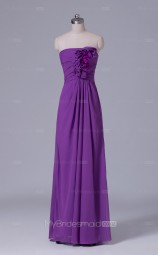 Long Strapless A Line Light Purple Chiffon Wholesale Clearance Price Bridesmaid Dress BD-NZS520