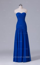 Sweetheart Neck Mermaid Long Crushed Chiffon Royal Blue Wholesale Clearance Price Bridesmaid Dress BD-NZS521