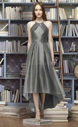 Elegant Halter A Line Hi-Lo DarkGray Stretch Satin Bridesmaid Dress BDNZ1632