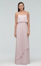 Classic Ivory A Line Straps Long Chiffon Bridesmaid Dress BDNZ1656