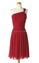 New Arrive Red A Line One Shoulder Chiffon Bridesmaid Dresses (BSD188)