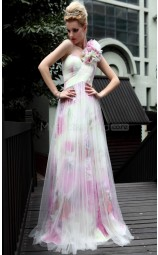 A-line One Shoulder Long Prom Print Dress (GZNZ30586)