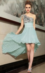 Hi Lo Blue Semi-Formal Dress with Appliques and Beadings (GZNZ6065)