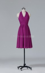 Lace A Line Short Dark Fuchsia Halter Wholesale Clearance Price Bridesmaid Dress BD-NZS423