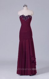 Purple Long Sweetheart Neck Chiffon Mermaid Wholesale Clearance Price Bridesmaid Dress BD-NZS523