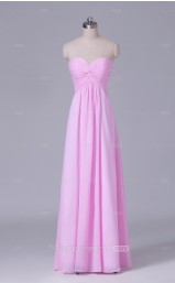 Peach Chiffon A Line Sweetheart Neck Long Wholesale Clearance Price Bridesmaid Dresses BD-NZS465
