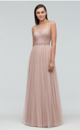 Chic Tulle LightChampange A Line Long Bridesmaid Dress BDNZ1725