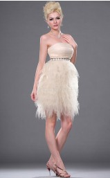 Pearl Pink Tulle A-line Strapless Short Bridesmaid Dresses (NZBD06380)