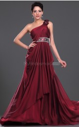 Burgundy Chiffon A-line One Shoulder Long Bridesmaid Dresses (NZBD06442)