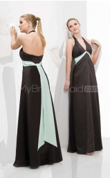 Black Satin Sheath Halter Long Bridesmaid Dresses (NZBD06572)
