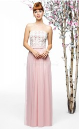 Candy Pink Chiffon , Lace A-line Strapless Floor-length Vintage Bridesmaid Dresses (NZBD06898)