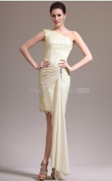 Champagne Sheath Short Lace One Shoulder Ball Dresses (NZJT06458)