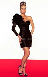 Black Sheath Short Taffeta One Shoulder Ball Dresses (NZJT06680)