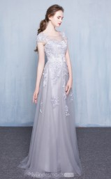 Formal Ruby,Sliver Scoop Long A Line Lace Ball Gowns with Short Sleeves NZTB06045