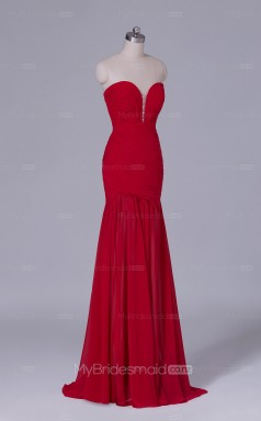 Chiffon Mermaid Long Dark Red Sweetheart Neck Wholesale Clearance Price Bridesmaid Dress BD-NZS483