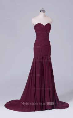 Mermaid Chiffon Sweetheart Neck Dark Burgundy Long Wholesale Clearance Price Bridesmaid Dress BD-NZS507