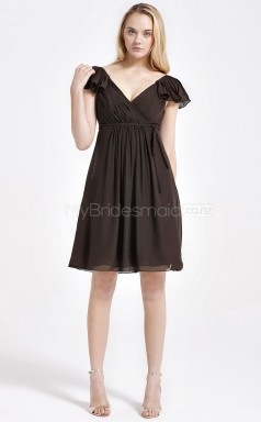 Chocolate Chiffon A-line V-neck Short Bridesmaid Dress For Beach(NZBD06074)