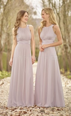 Elegant Chiffon Gray A Line Long Bridesmaid Dress with Ruched BDNZ1599