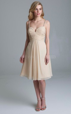Glamorous LightChampange A Line Straps Knee Length Chiffon Bridesmadi Dress with Sequings BDNZ1602