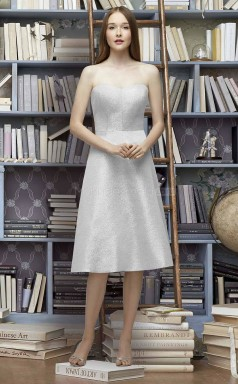 Teenage Tea Length Leather Strapless Silver A Line Bridesmaid Dress BDNZ1630