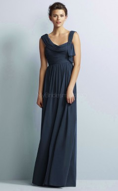 Formal Chiffon Straps Long Navy A Line Bridesmaid Dress BDNZ1637