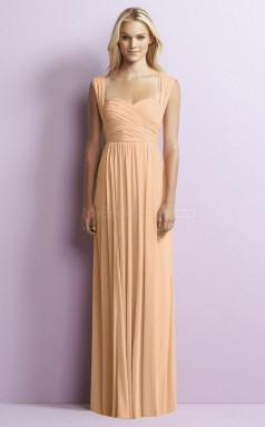 Chic Chiffon Gold A Line Long Bridesmaid Dress BDNZ1644